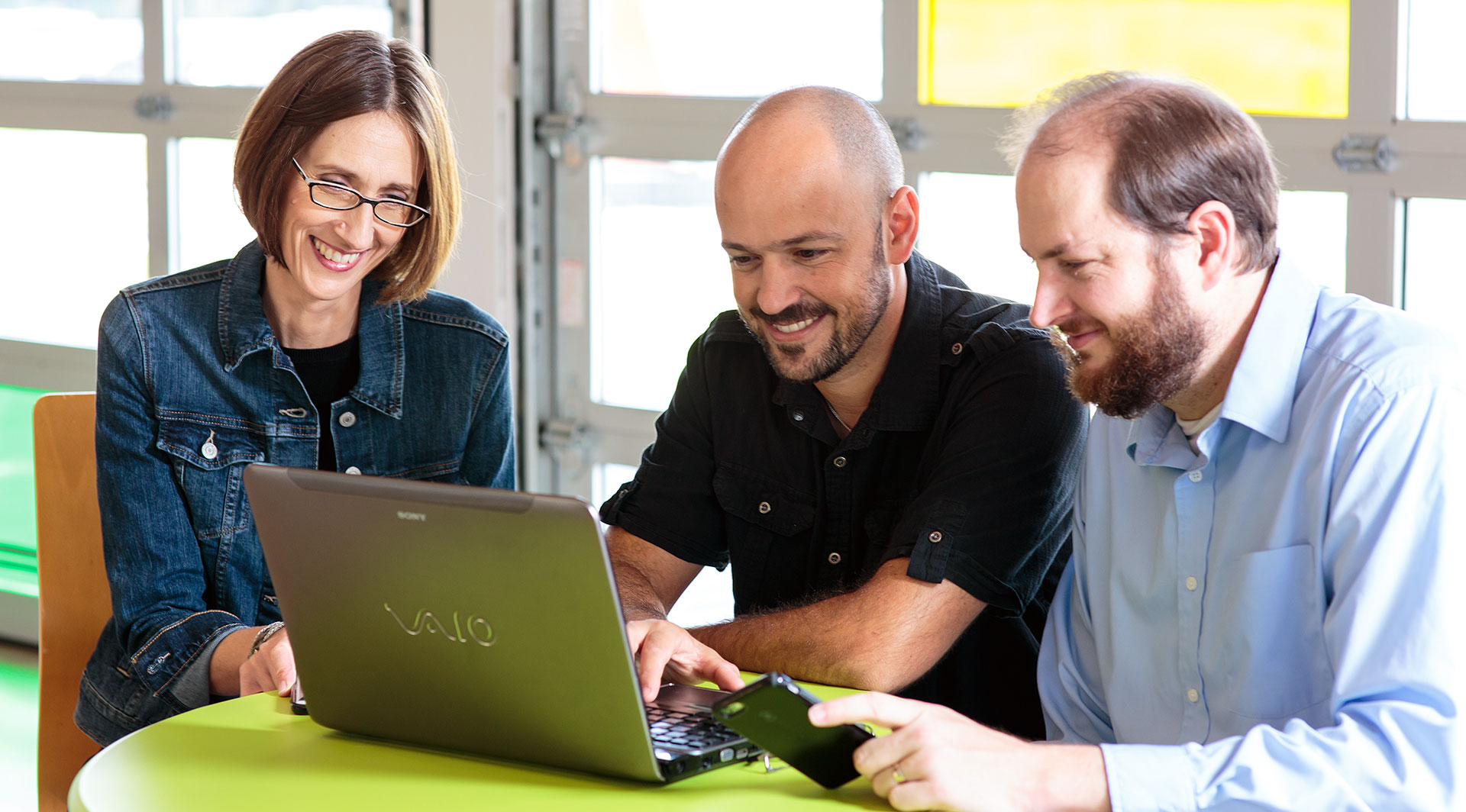 Gerda Breaux, Eric Wargo and Joseph Dispensa work at the office of Sneaker Web Design, also located in Zurich, Switzerland.